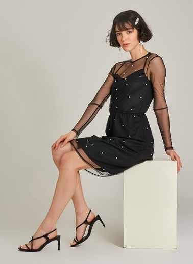 Agenda İnci Detaylı Tül Elbise Siyah